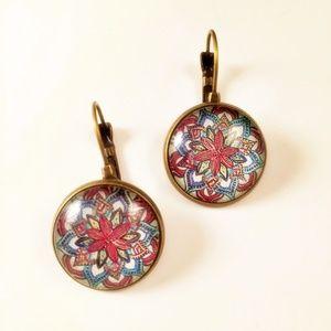 Mandella Design Flower Pierced Earrings New